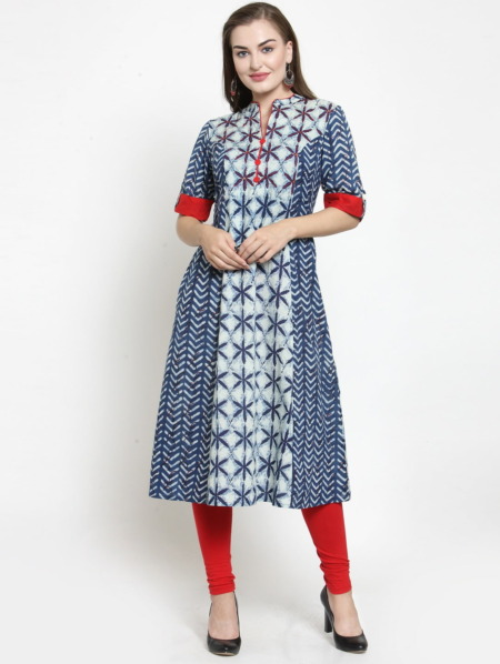 Blue Indigo Kantha work Kurta by Purplicious