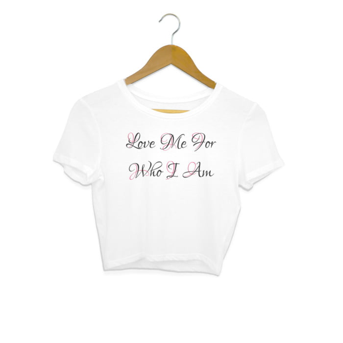 Love Me For Who I Am – Tattoo Inked Back Crop Top 1