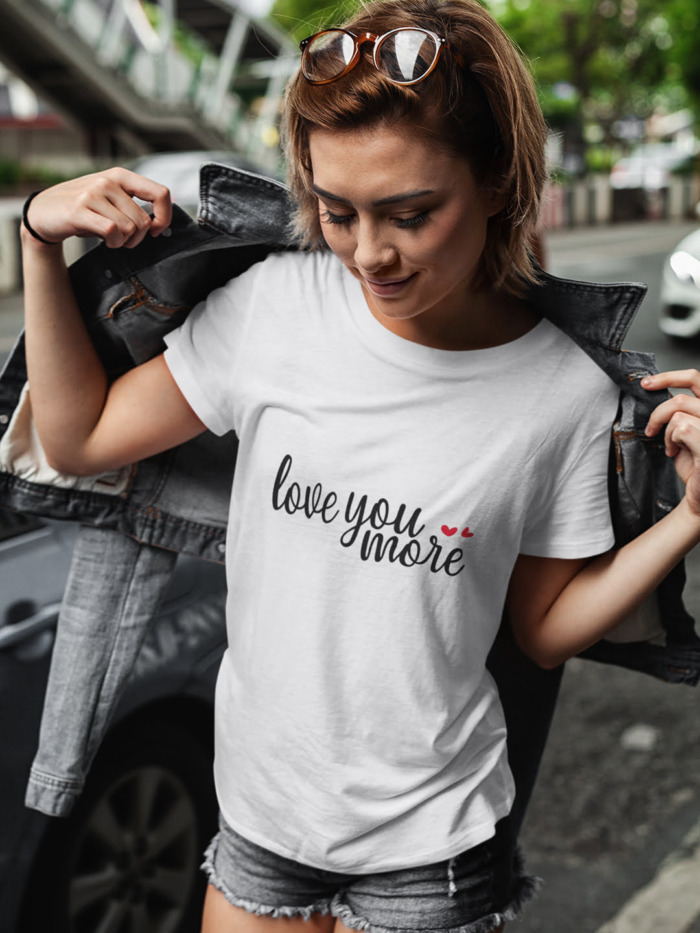 Love You More Calligraphy T-shirt in White and Pink 5