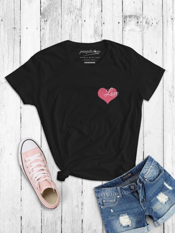 Pink Love Minimal T-shirt for Women In Black Grey and Navy 3