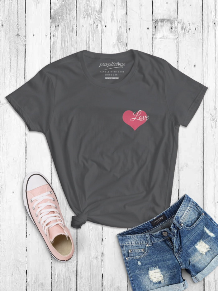 Pink Love Minimal T-shirt for Women In Black Grey and Navy 4