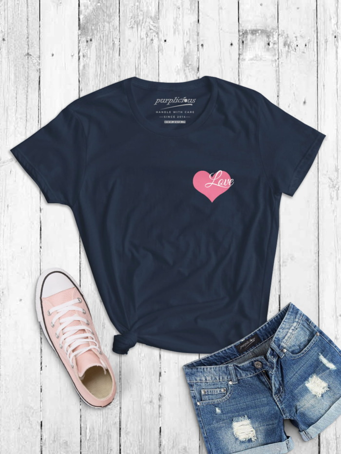 Pink Love Minimal T-shirt for Women In Black Grey and Navy 5